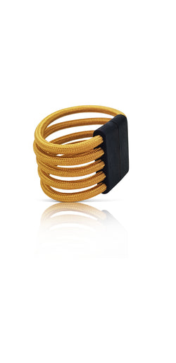 Pig 'Oh Mustard 5 Strand Cable Wire Cuff with Magnetic Wooden Clasp