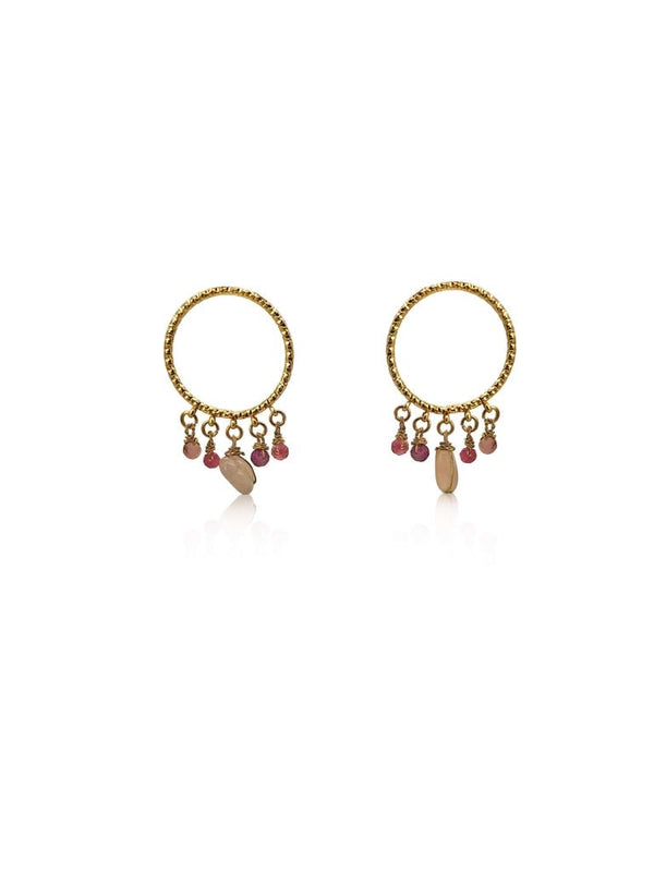 Gold Purple and Pink Rose Quartz Stone Hoop Earrings