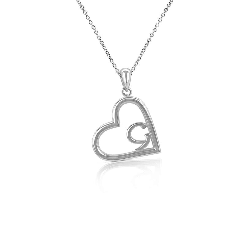 Sterling Silver Heart With Ancient Gaelic Script Necklace