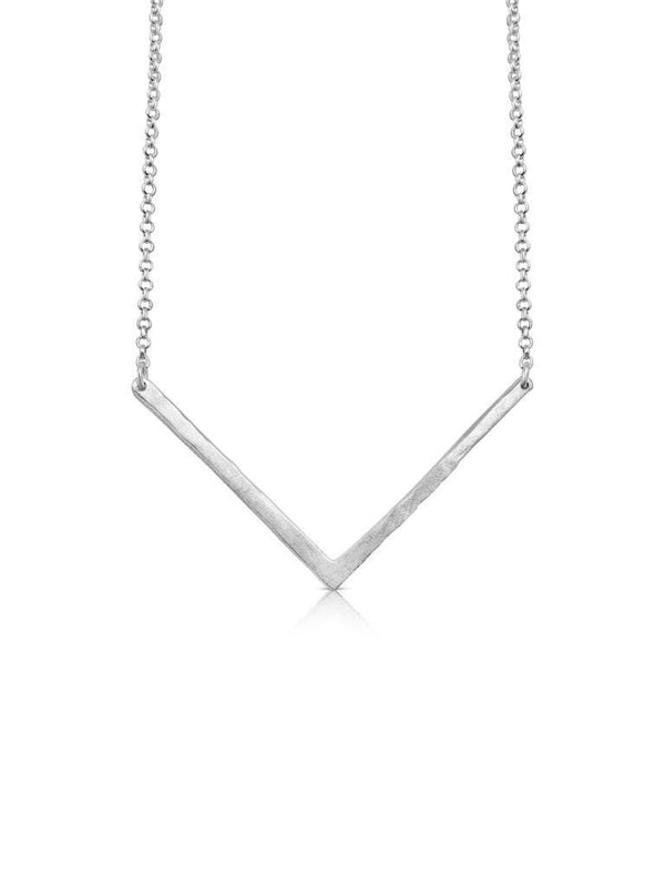 Sterling Silver Necklace With Brushed Silver V Shaped Pendant