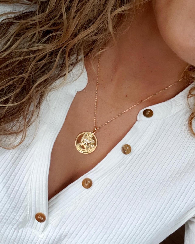 Girl wearing sterling silver gold plated Farthing Coin - Or Collection