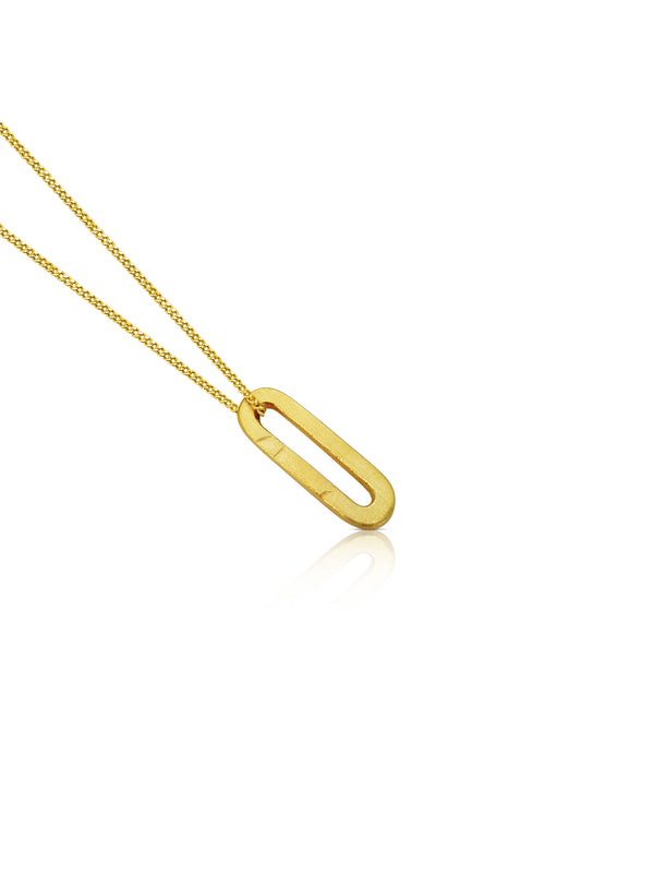 Susi Cala Gold Plated Necklace With Paperclip Pendant.