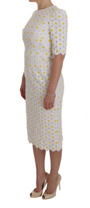 White Sunflower Ricamo Sheath Dress