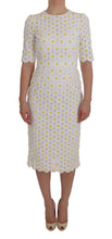 Load image into Gallery viewer, White Sunflower Ricamo Sheath Dress
