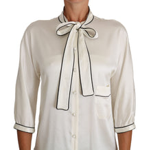 Load image into Gallery viewer, White Silk Pussy Bow Blouse Shirt