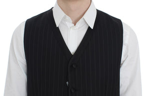 Black Striped Wool Silk Vest
