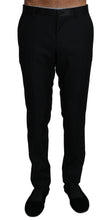 Load image into Gallery viewer, Black Wool Silk Dress Formal Trousers Pants