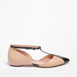 Mary Jane Ballet Flat Nappa Leather Black/Beige