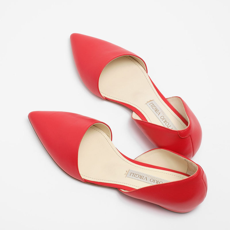 Sophia Ballet Flat Nappa Leather Red