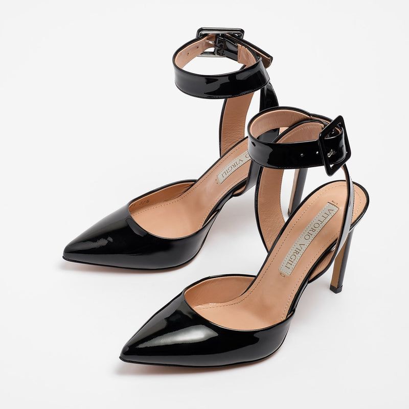 Inés Sandal Patent Leather Black