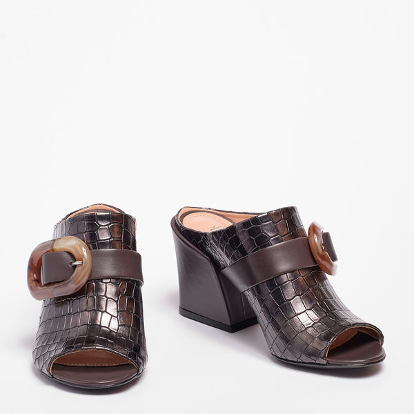 Martha Mule Croco print leather Gun-metal grey
