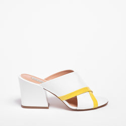 Judie Open-toe Mule Patent leather White-Yellow