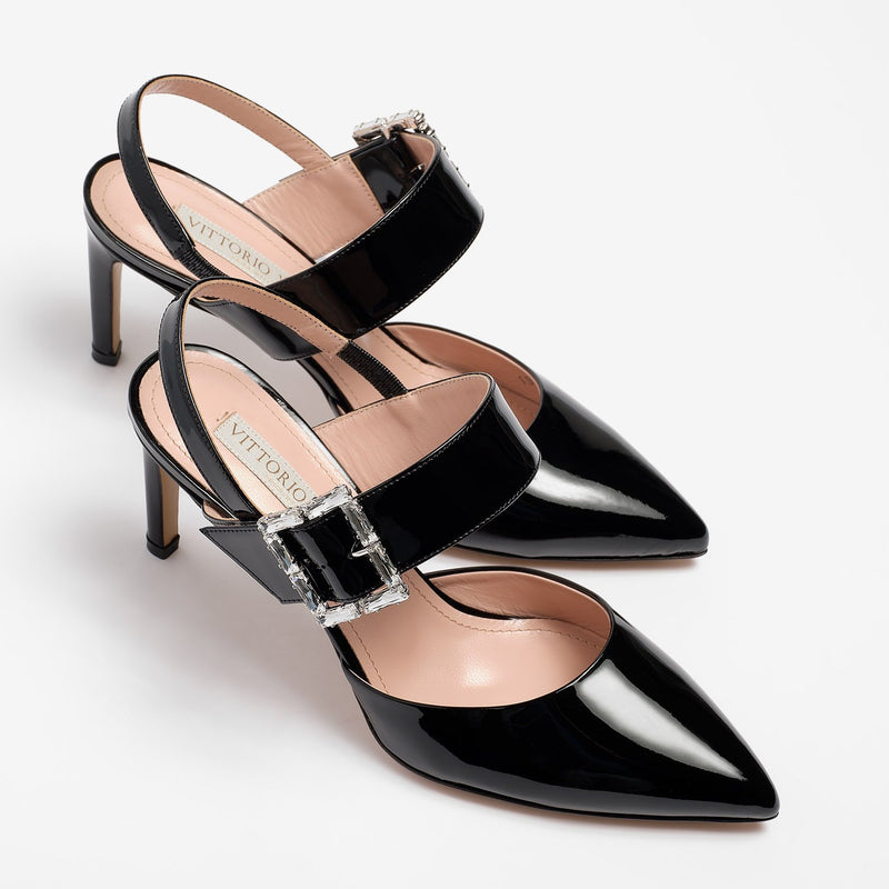 Sarah Slingback Patent Leather Black