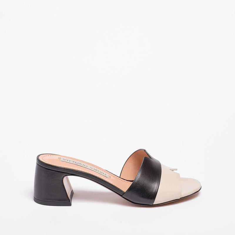 Jackie Mule  Nappa Leather Beige/Black