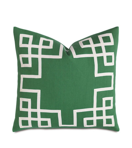 Decorative Pillow-  Kelly green with ribbon