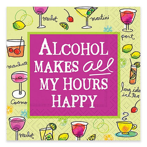 Whimsical Cocktail Napkins - Alcohol Make All My Hours Happy