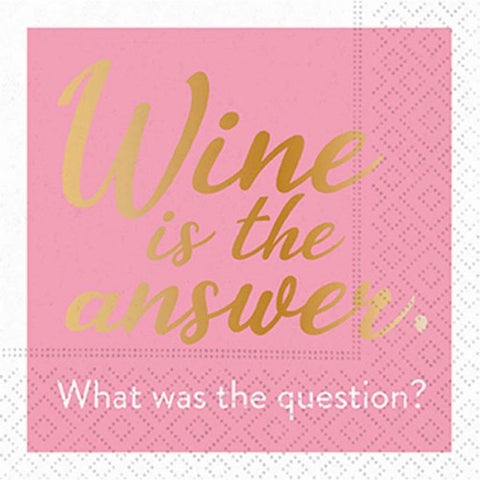 Whimsical Cocktail Napkins - Wine Is The Answer