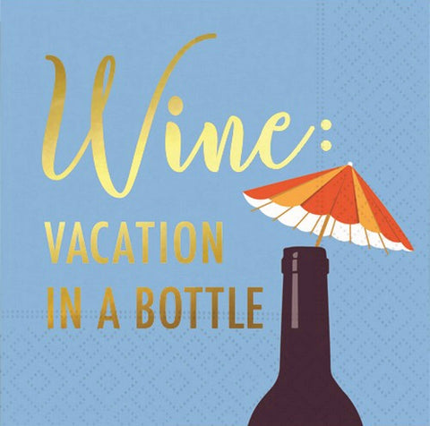 Whimsical Cocktail Napkins - Wine: Vacation In A Bottle