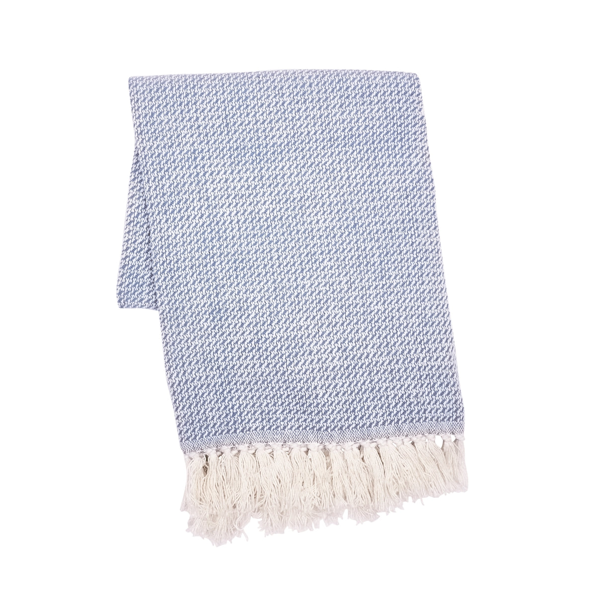 Light Blue/White Throw with Tassels