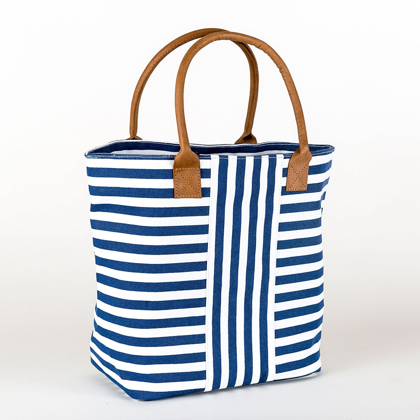 Cabana Tote- Narrow Navy Stripe