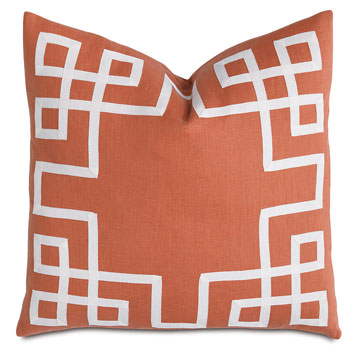 Decorative Pillow- Tangerine with Ribbon