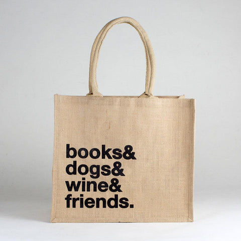 Jute Market Books & Dog Tote