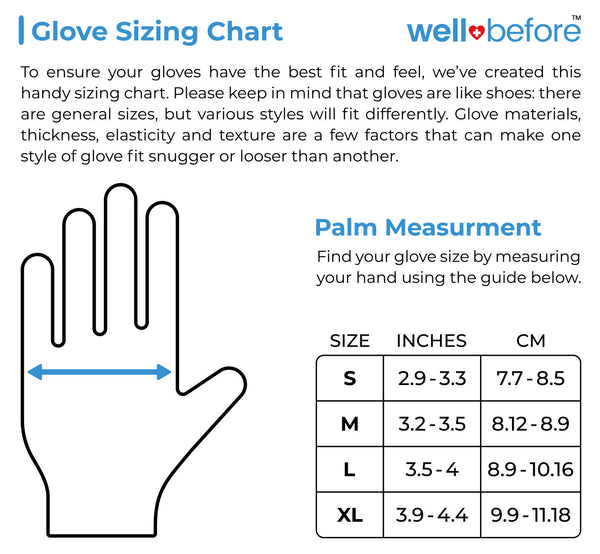 Nitrlie Blend Gloves sizing chart