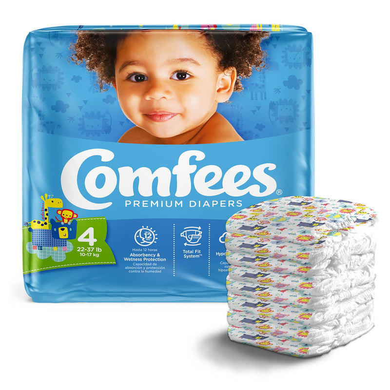 Comfees Premium Diaperss, Unisex, Baby, Tab Closure, Size 4, 31 per Package