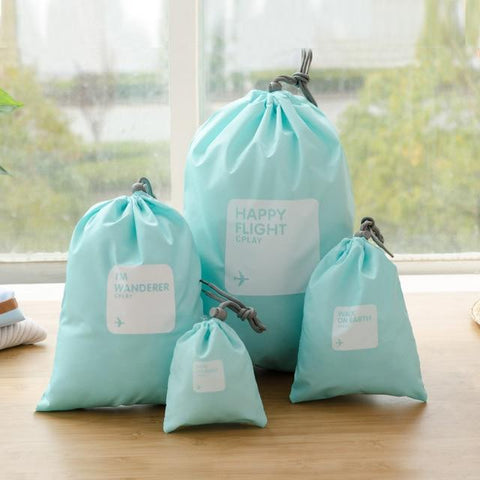 Waterproof Drawstring Organizing Bags for Clothing (4 pieces set)