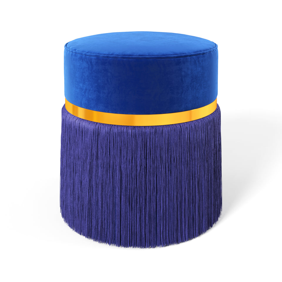 Dolly Fringed Ottoman - Classic Blue