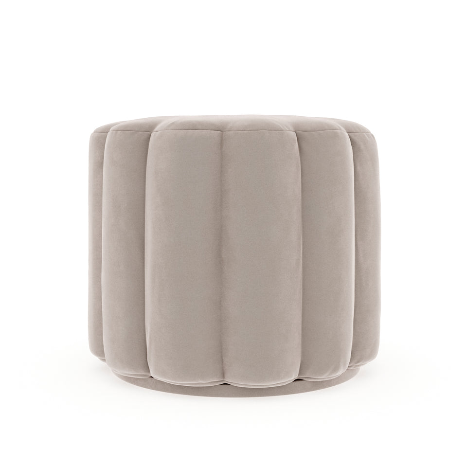 Milly Button Ottoman - Silver Grey