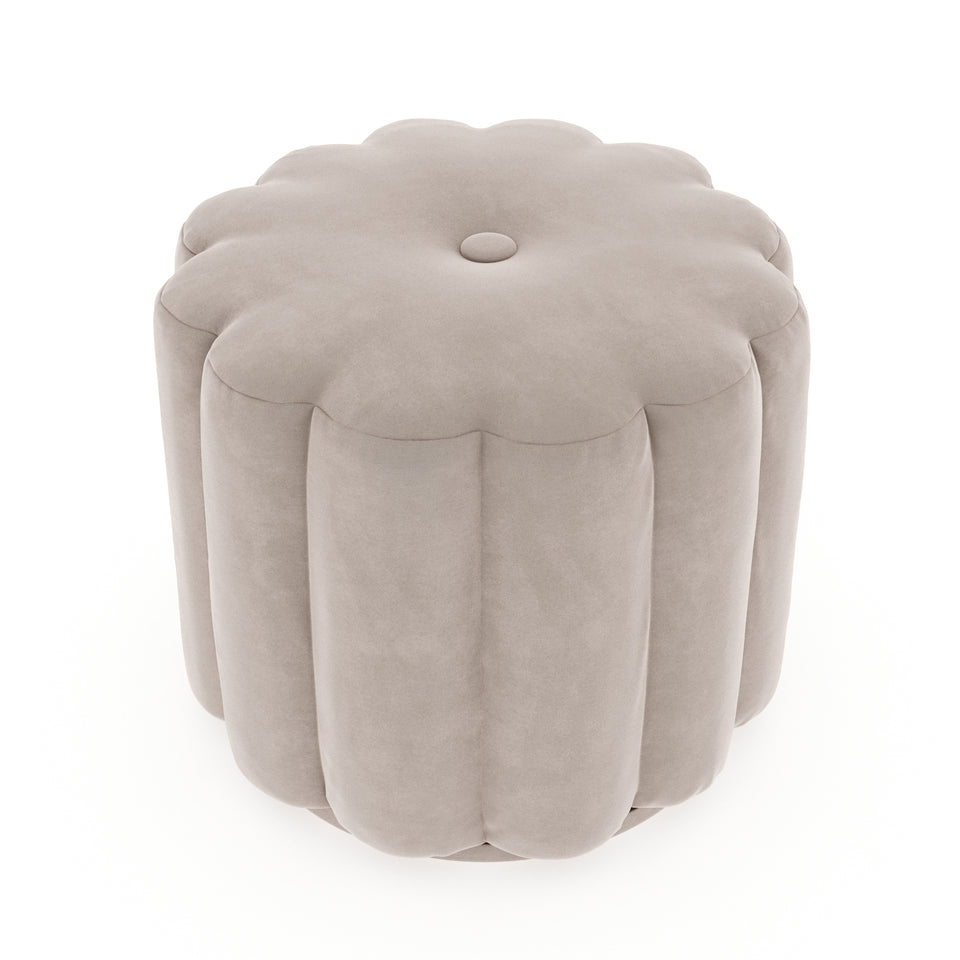 Milly Button Ottoman - Forrest Green