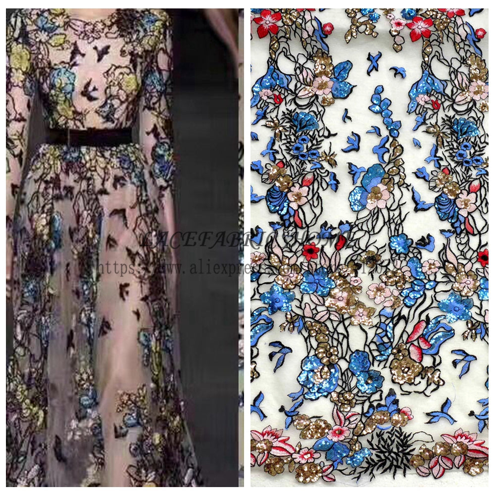 1 yard Beautiful mixed colors sequins polyster embroiderey evening dress lace fabric fashion week show styl lace 51'' width