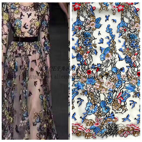 Image of 1 yard Beautiful mixed colors sequins polyster embroiderey evening dress lace fabric fashion week show styl lace 51'' width