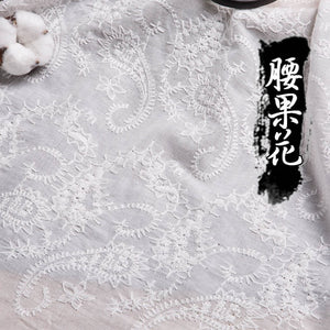 100x140cm 100%Cotton Fabric Embroidered White Hollow Lace Cloth Sewing Fabrics for Patchwork DIY Wedding Dress Handmade Material