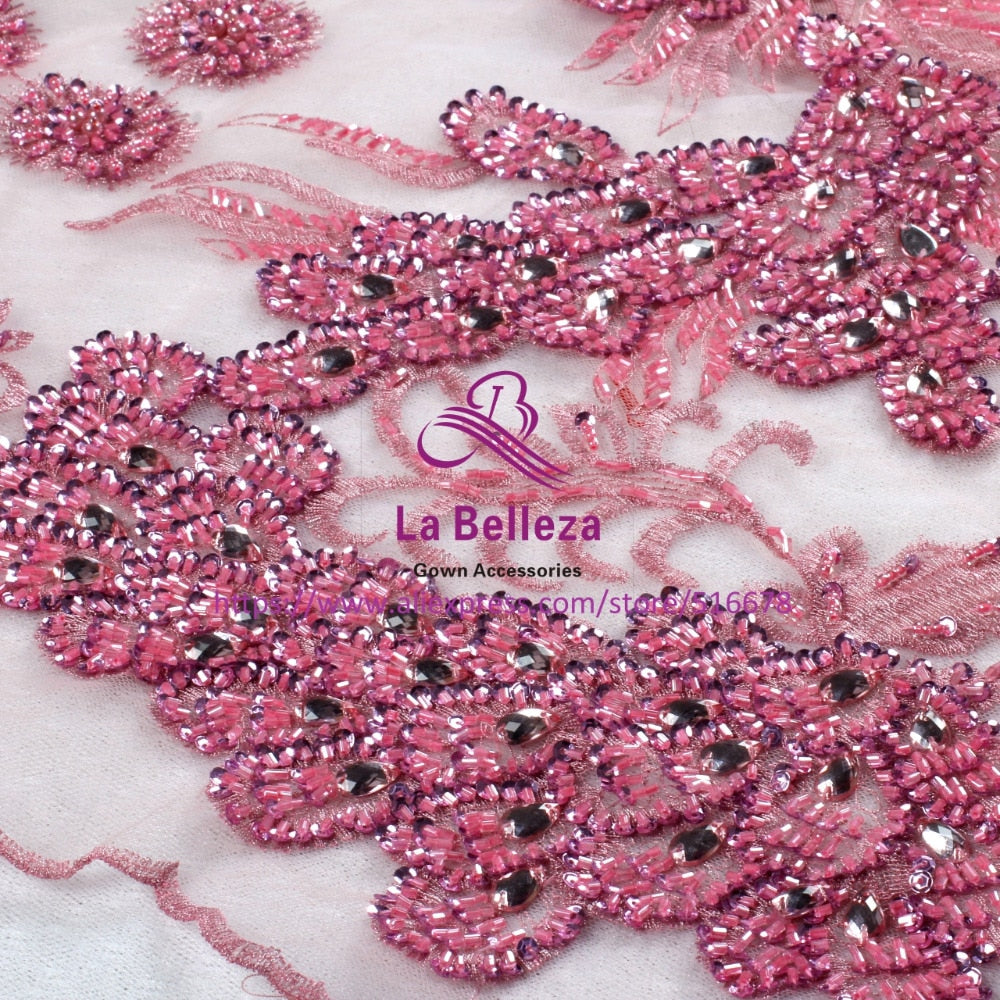 120cm by yard pink/nude pink/purple/light gray handmade surper heavy beading sequins wedding/evening/show dress lace fabric