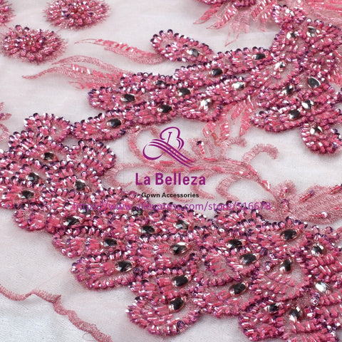 Image of 120cm by yard pink/nude pink/purple/light gray handmade surper heavy beading sequins wedding/evening/show dress lace fabric