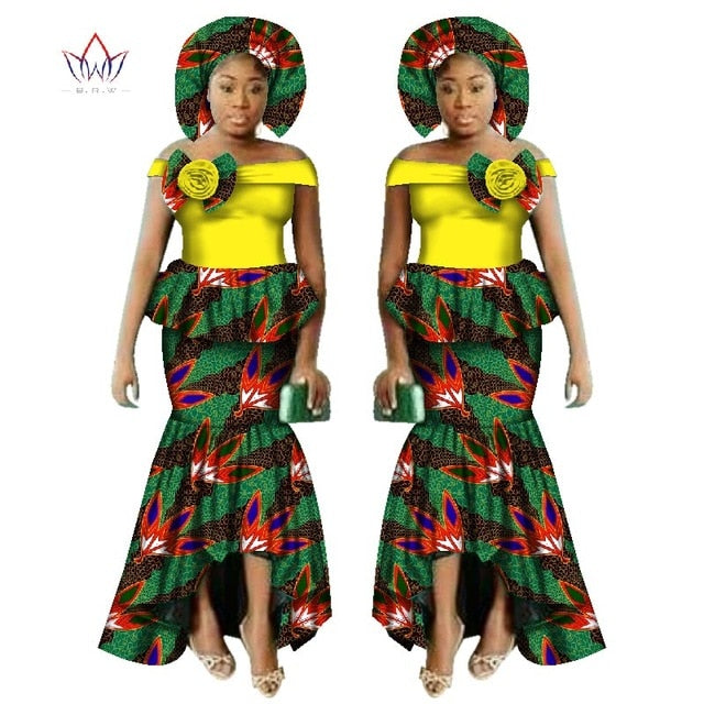 2017 New African Dashiki Print Clothing sets Two Pieces Short Sleeve Tops Plus Mermaid Maxi Dress Plus Size BintaRealWax WY2521