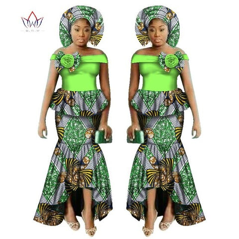 Image of 2017 New African Dashiki Print Clothing sets Two Pieces Short Sleeve Tops Plus Mermaid Maxi Dress Plus Size BintaRealWax WY2521