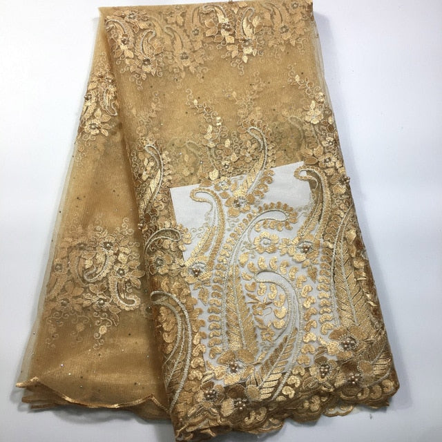 2018 African Cord Lace High Quality French Lace Fabric With Stones Gold  African Lace Fabric For Nigerian Wedding Dress M1935