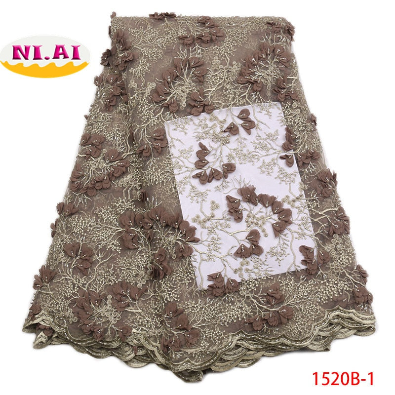 2018 African Lace Fabric 2018 High Quality French Lace Fabric Handmade Beaded Heavy Lace Fabrics For African Parties NA1520-1