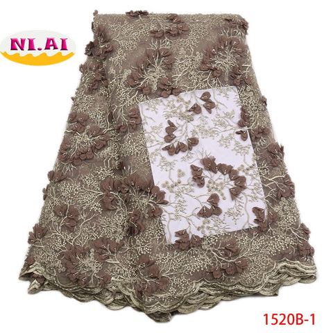 Image of 2018 African Lace Fabric 2018 High Quality French Lace Fabric Handmade Beaded Heavy Lace Fabrics For African Parties NA1520-1