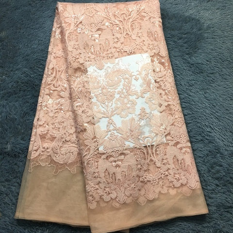 Image of 2018 African Lace High Quality French Lace Fabric With Sequins Gold Color African Lace Fabric For Nigerian Wedding Dress M2357