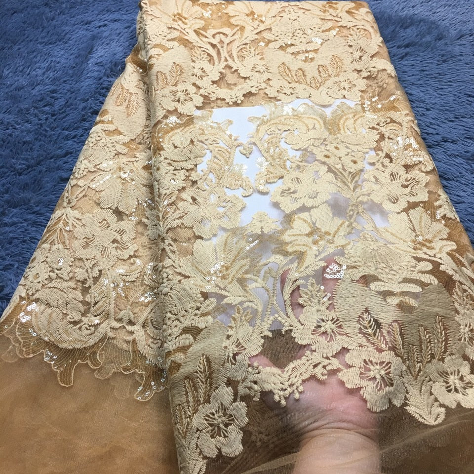 2018 African Lace High Quality French Lace Fabric With Sequins Gold Color African Lace Fabric For Nigerian Wedding Dress M2357