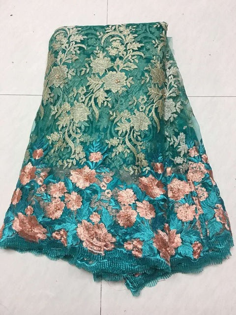 2018 African Laces Fabrics Embroidered Nigerian Guipure French Cord Lace Fabric High-quality Rose African French Net Lace Fabric