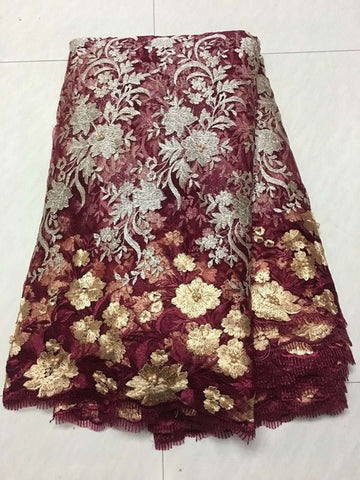 Image of 2018 African Laces Fabrics Embroidered Nigerian Guipure French Cord Lace Fabric High-quality Rose African French Net Lace Fabric