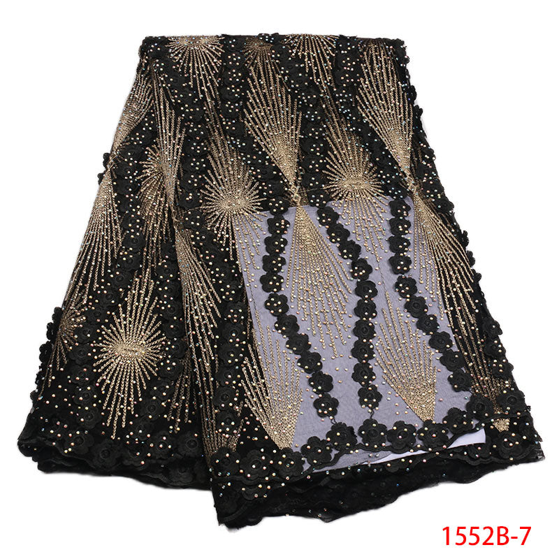 2018 African Tulle Lace Fabric High High Quality Net Swiss Voile Lace Black French Embroidery Nigeria Lace Fabric Gold 1552B