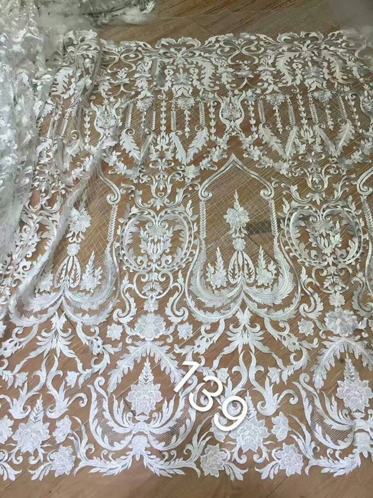 2018 African white lace fabric, bridal lace fabric  French lace for party dress 5 yards african french lace fabric