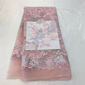 2018 Bridal Peach French lace fabric African tulle lace fabric 5 yards Nigerian net lace fabric for dress HX1217-2