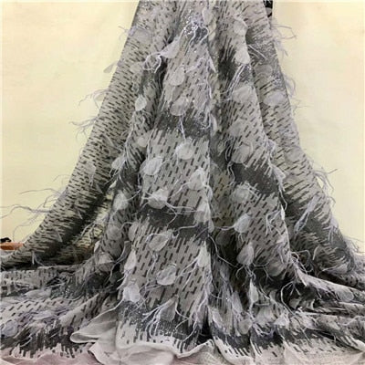 2018  Excellent  quality  French Tulle Lace Fabric  with sequin and feathers Latest 3D  Mesh Lace Fabric for dress  HX785-2